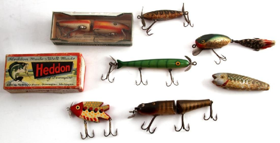 ANTIQUE FISHING LURE LOT PFLUEGER HEDDON