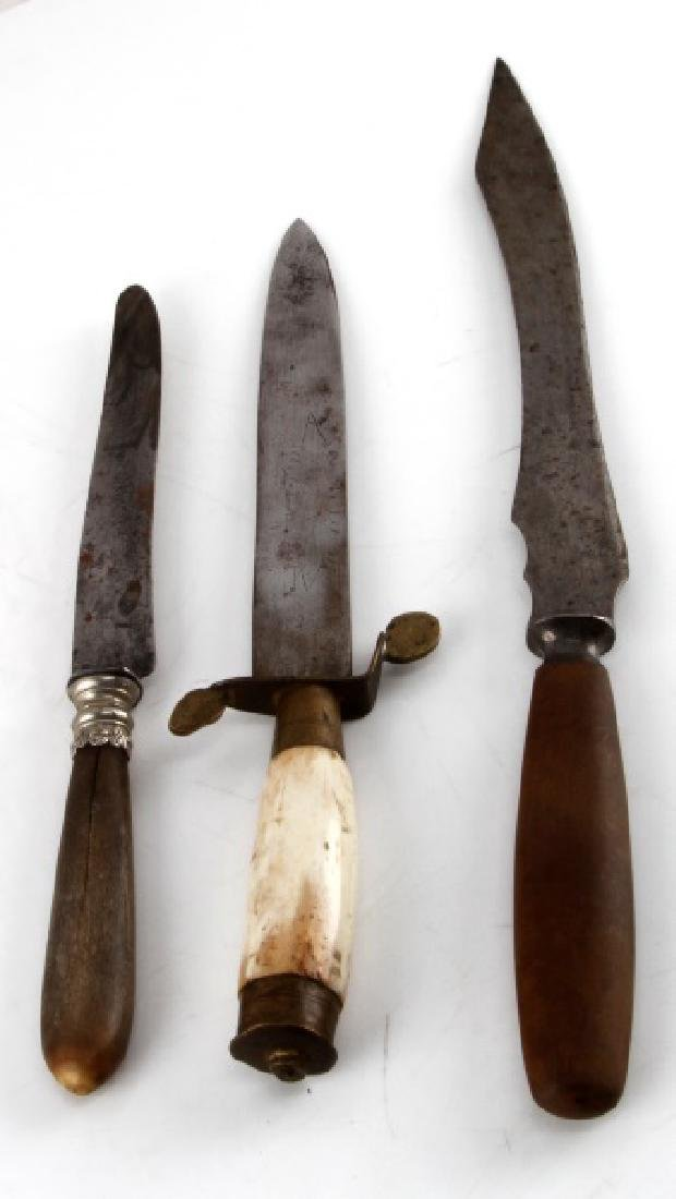 3 VINTAGE AND ANTIQUE LONG KNIVES BONE HANDLED