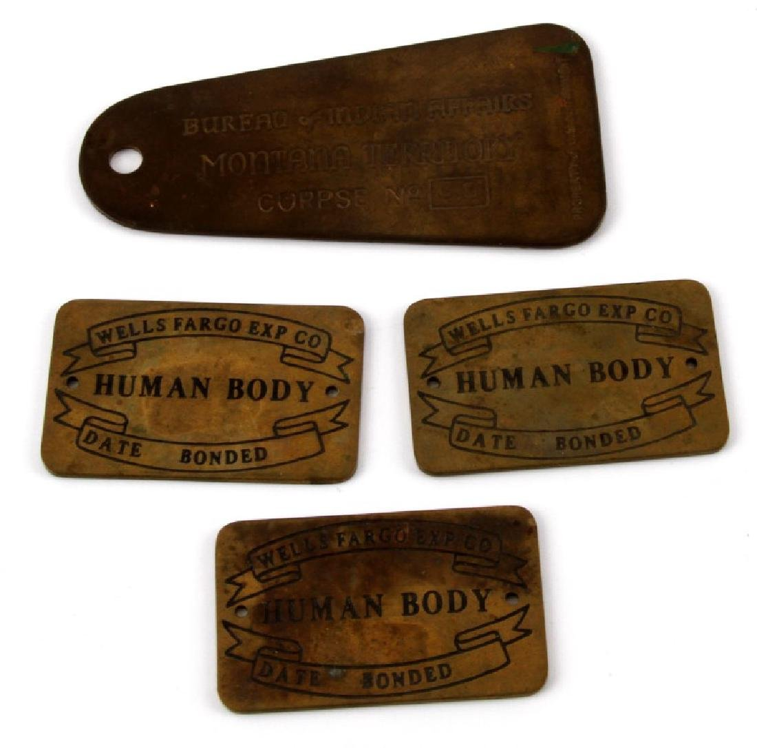 4 ANTIQUE CORPSE TAGS WELLS FARGO INDIAN AFFAIRS
