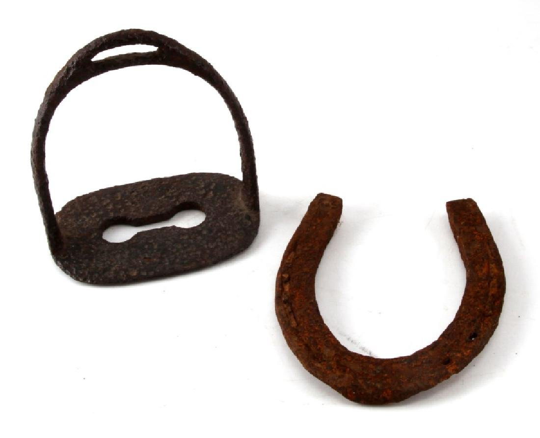 US CIVIL WAR CONFEDERATE STIRRUP AND HORSE SHOE