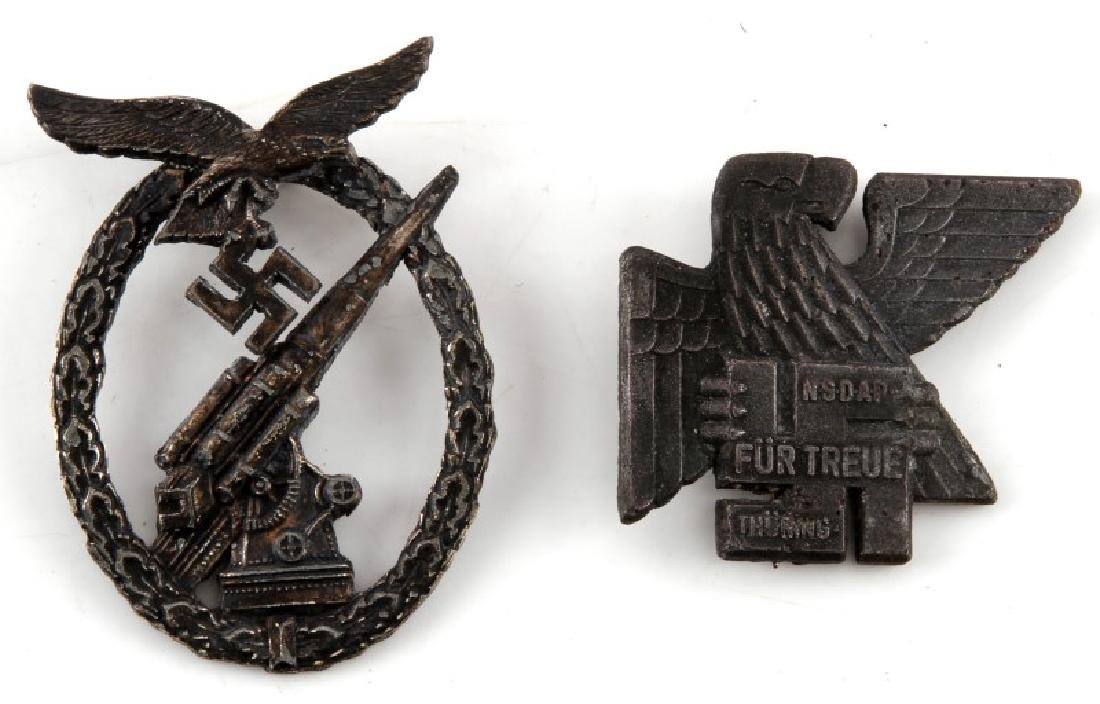 GERMAN WWII ARMY FLAK ARTILLERY BADGE & NSDAP PIN