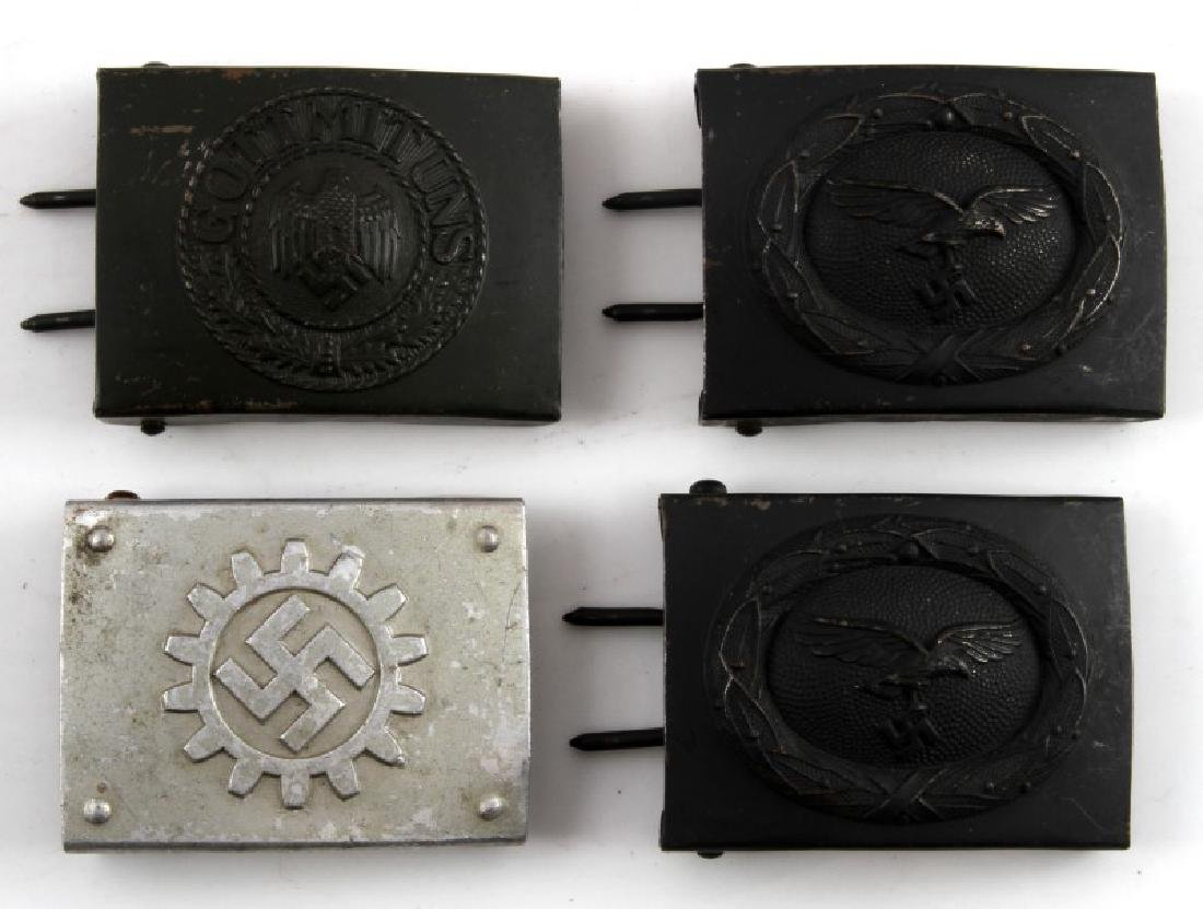 4 GERMAN WWII BELT BUCKLES HEER LUFTWAFFE DAF