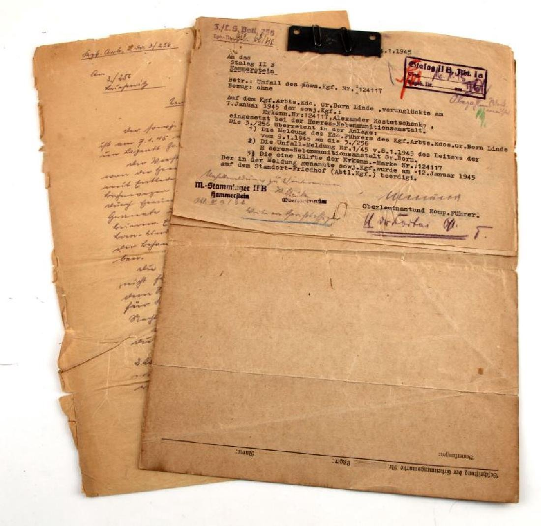 4 RUSSIAN WWII POW CAMP DOCUMENTS & LETTERS 1945