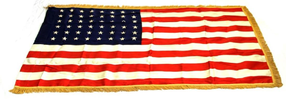 WWII POST ERA VINTAGE 48 STAR FRINGED U.S FLAG