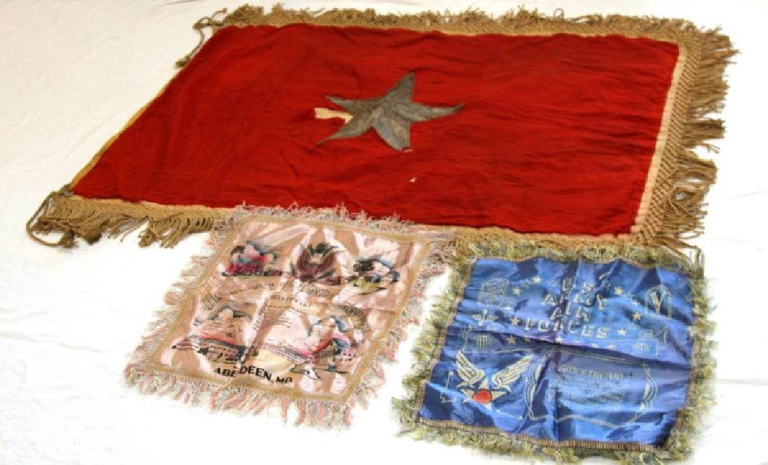 LOT OF 2 WWII MILITARY SWEETHEART & VIETNAM FLAGS