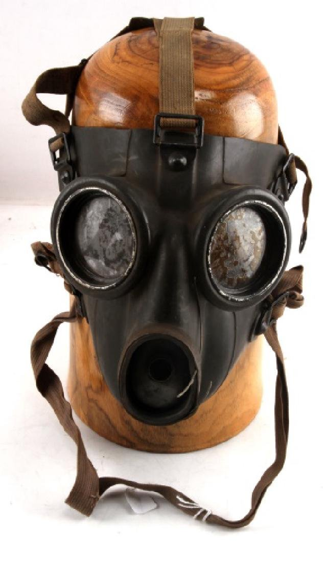 WWII GERMAN MILITARY GAS MASK WITH STRAP