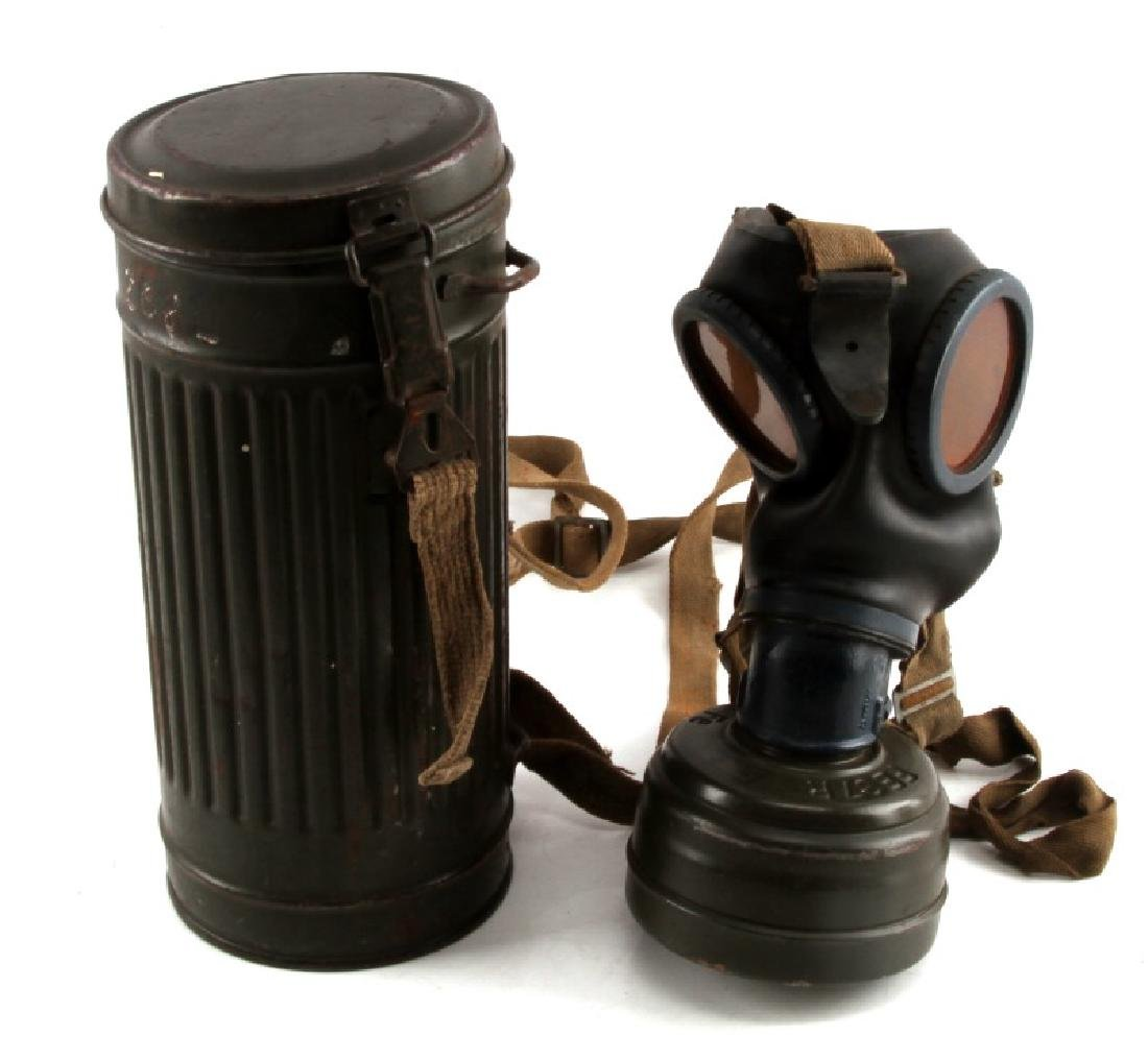 WWII GERMAN WEHRMACHT GAS MASK AND CANISTER
