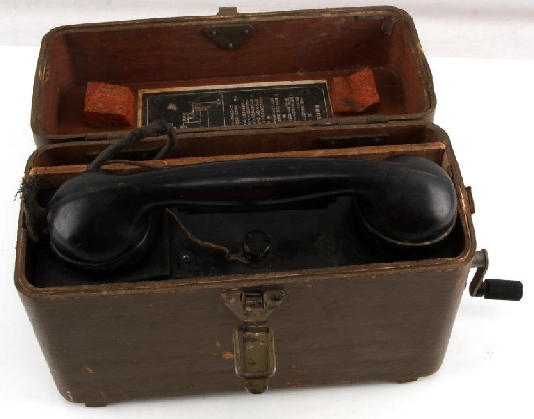 WWII JAPANESE WOODEN BOX FIELD PHONE RADIO
