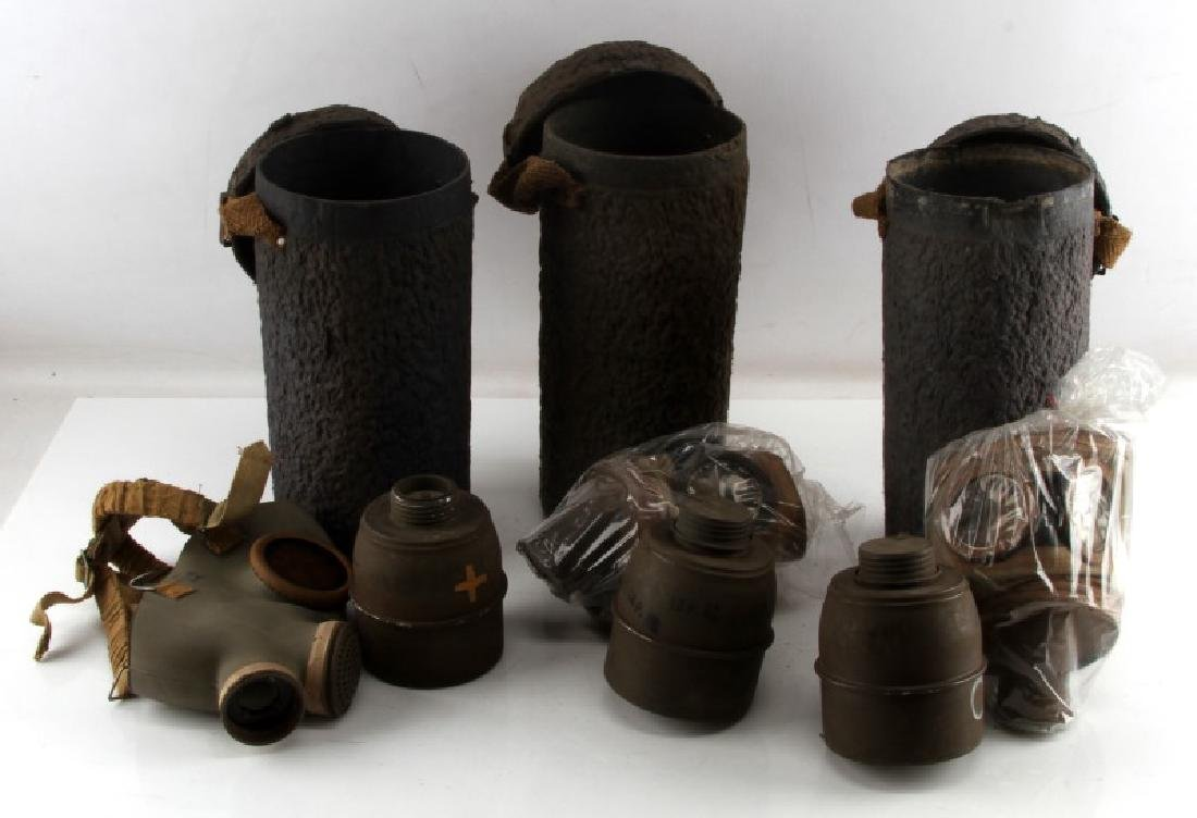 LOT OF 3 WWII FRENCH MILITARY GAS MASKS 1935 1938C