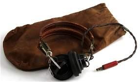 WWII U.S MILITARY RADIO OPERATOR HEADPHONE W CASE