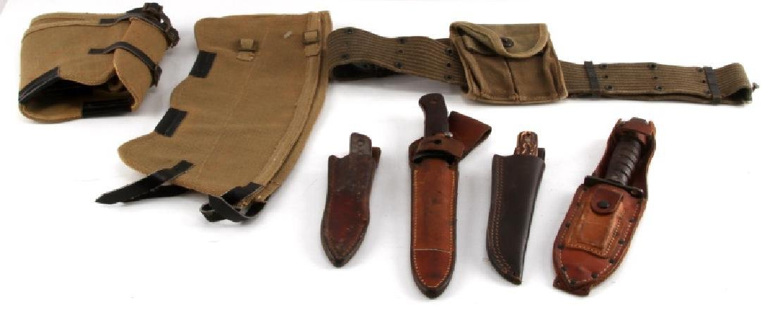 MIXED MILITARY LOT KNIFE SHEATH AMMO BELT GAITERS
