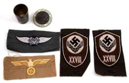 GERMAN WWII 4 PATCHES SILVER SHOT GLASS BADGE