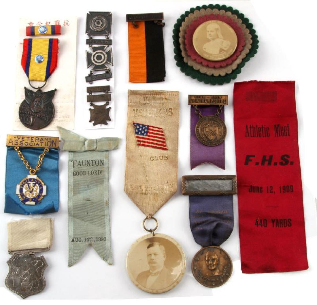 13 ASSORTED ANTIQUE RIBBON & MEDAL LOT WAR VETS