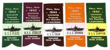 5 KITTERY MAINE WWII NAVY SUBMARINE RIBBON LOT