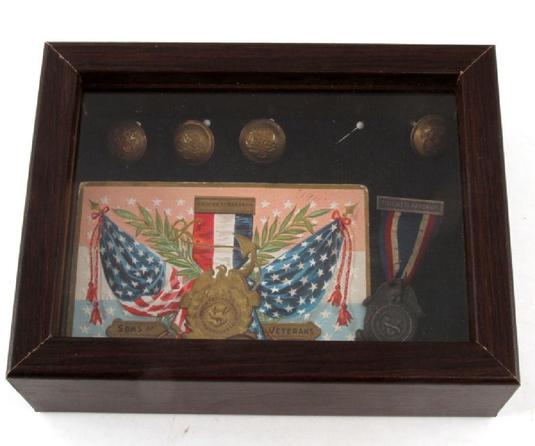 SONS OF VETERANS POST CIVIL WAR MEDAL DISPLAY