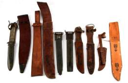 GROUP OF 10 ASSORTED LEATHER SHEATHS  SCABBARDS