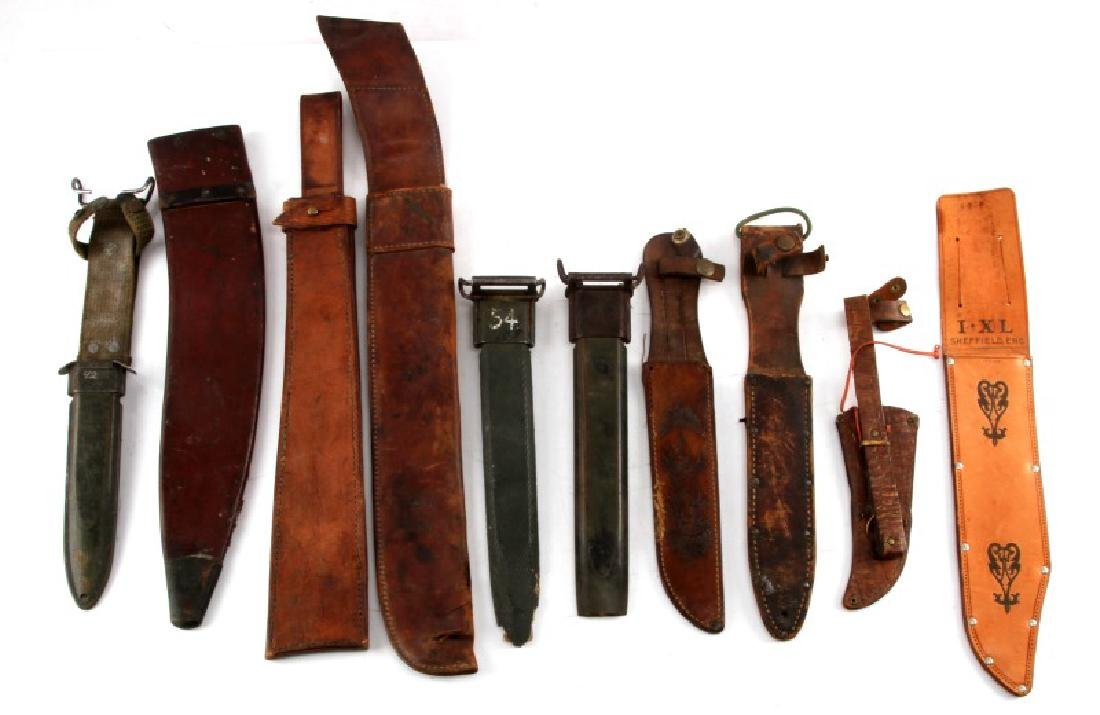 GROUP OF 10 ASSORTED LEATHER SHEATHS & SCABBARDS