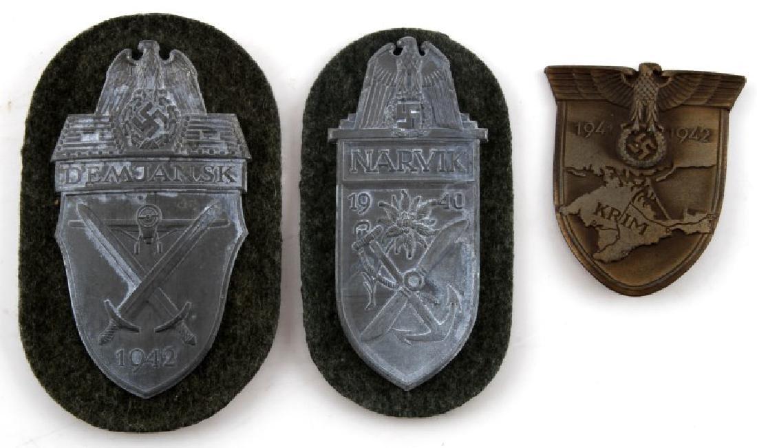 3 GERMAN WWII SHIELDS DEMJANSK NARVIK KRIM