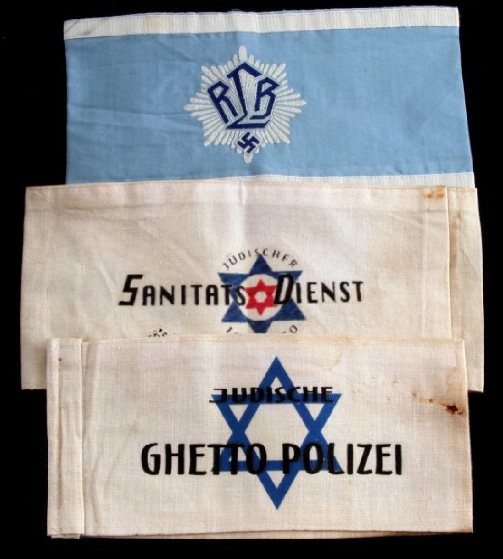 3 GERMAN WWII ARMBANDS LUFTSCHUTZ GHETTO POLICE