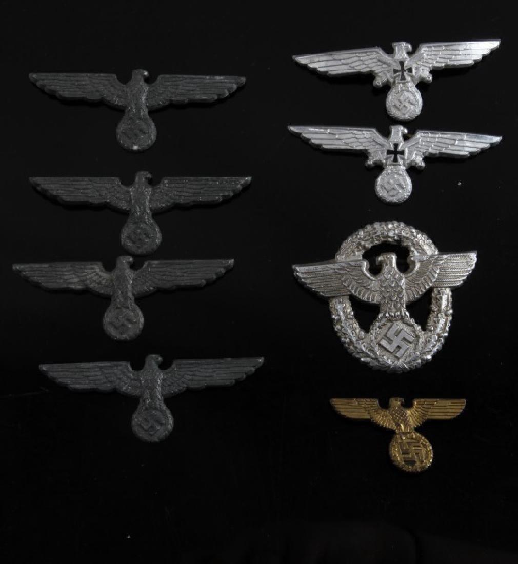 8 GERMAN WWII THIRD RECIH CAP EAGLES 4 VARIENTS