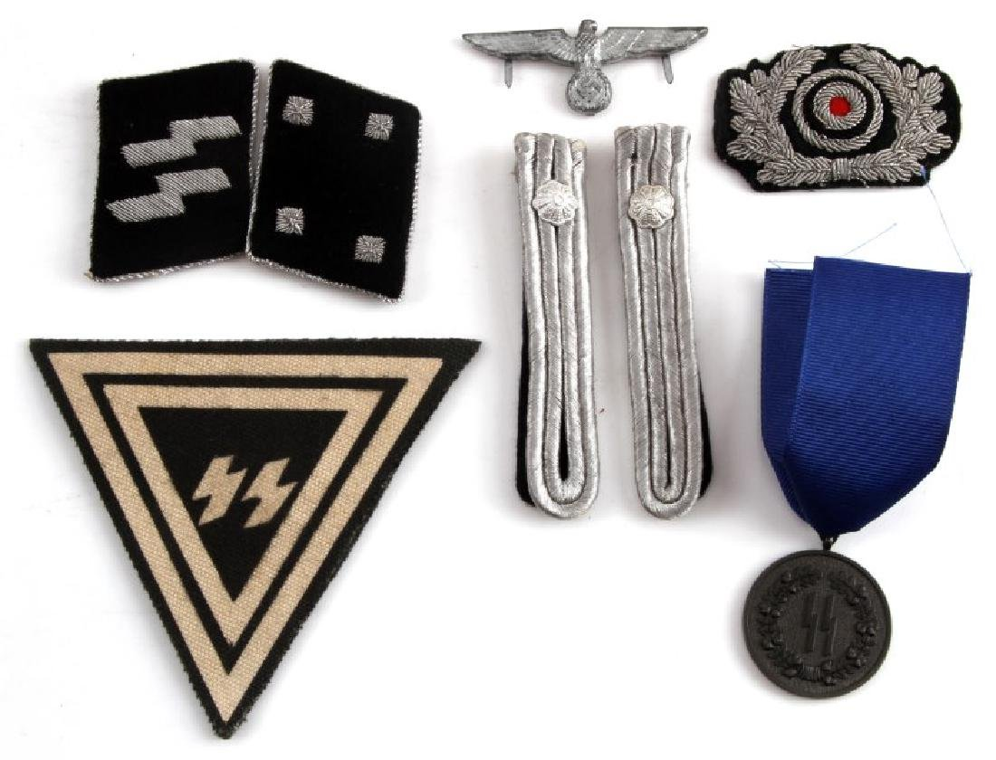 8 GERMAN WWII SS ITEMS CAP EAGLE PATCH TABS MORE