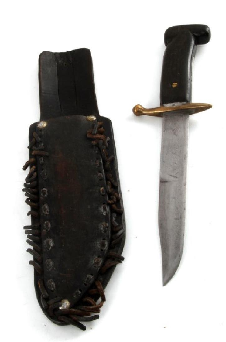 WWII THEATER MADE KNIFE & SHEATH BRASS AND LEATHER