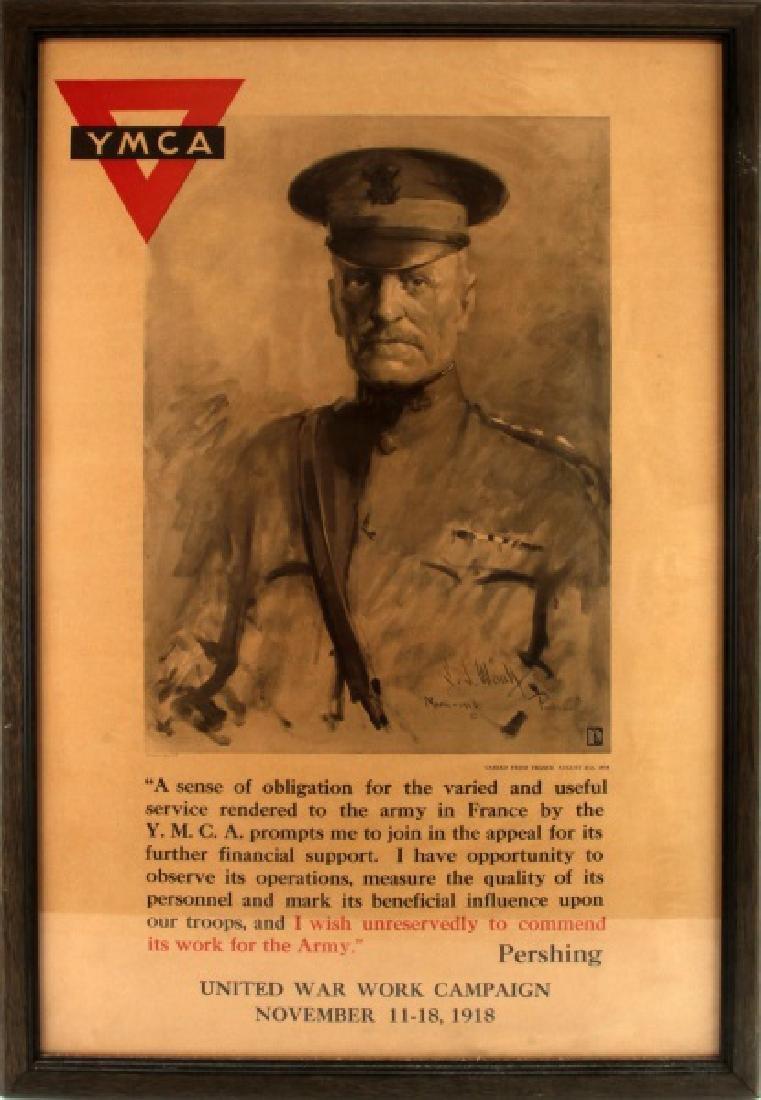 FRAMED YMCA WWI UNITED WAR WORK CAMPAIGN POSTER