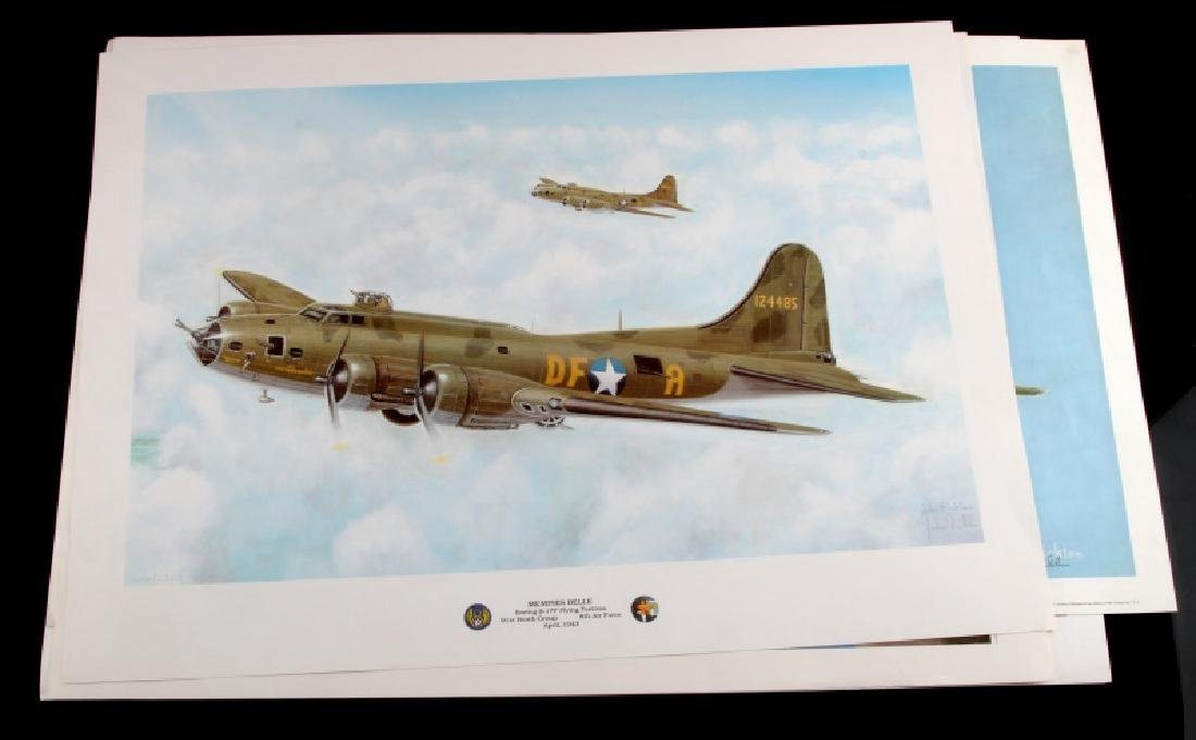4 WWII MILITARY PLANE FICKLEN SIGNED PRINT LOT