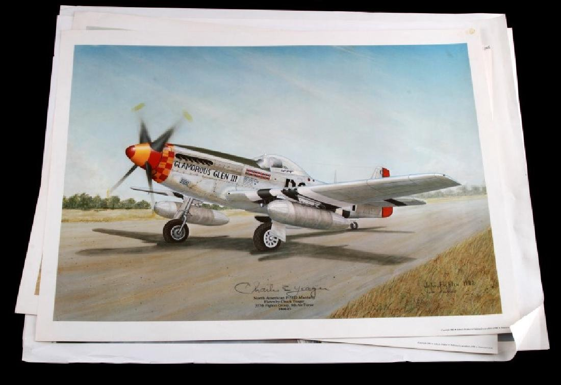 5 WWII MILITARY PLANE FICKLEN SIGNED PRINT LOT