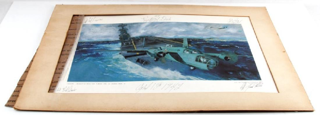 DOOLITTLE RAID LITHO SIGNED BY 4 TED LAWSON & CREW