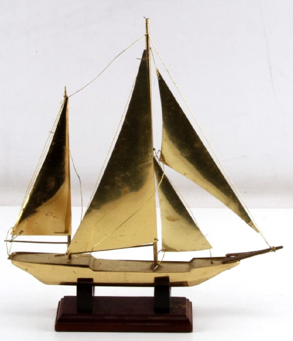 BRASS MODEL SHIP WITH WOODEN STAND