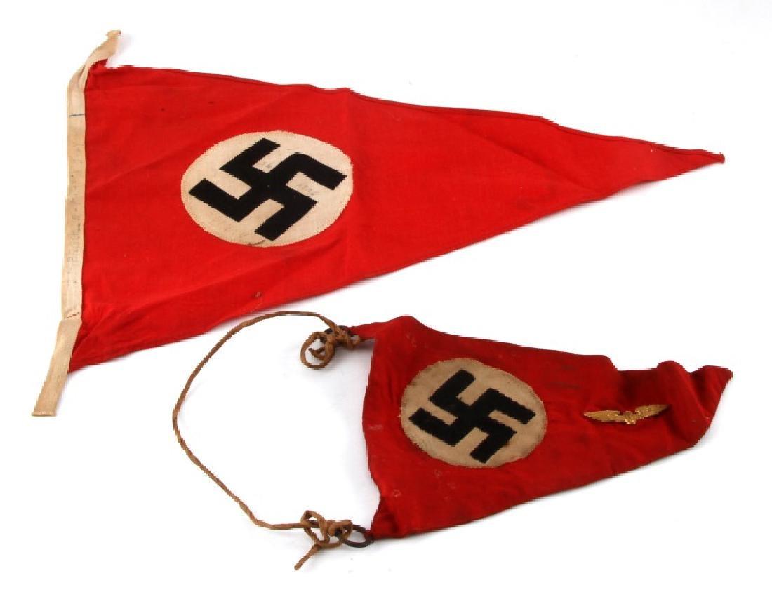 2 WWII GERMAN 3RD REICH PERIOD BANNER LOT