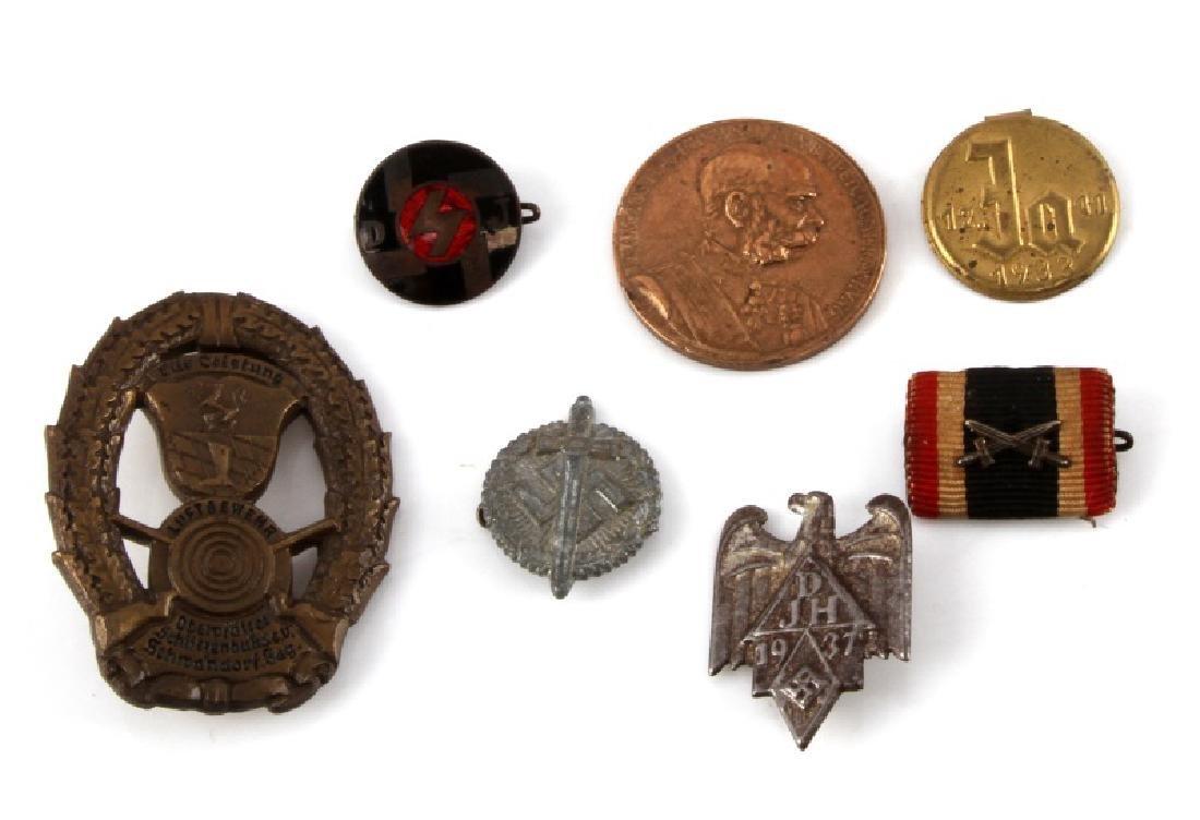 7 GERMAN WWII PIN & COIN LOT DJH 1937 LUFTGEWEHR