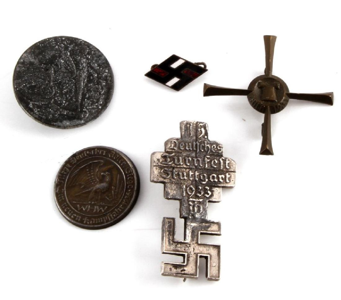 5 GERMAN WWII PIN LOT TRIER 1933 CROSS WHW ETC