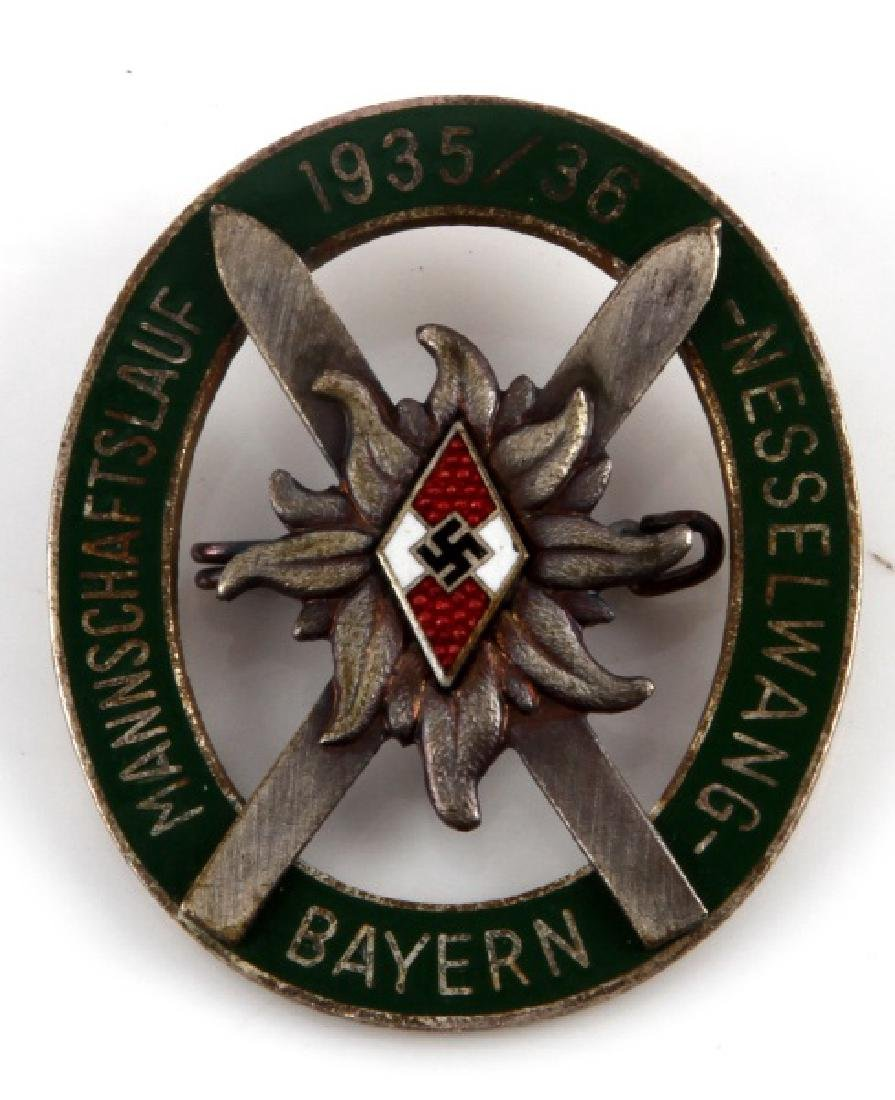GERMAN WWII HITLERJUGEND MOUNTAIN TROOPS BADGE