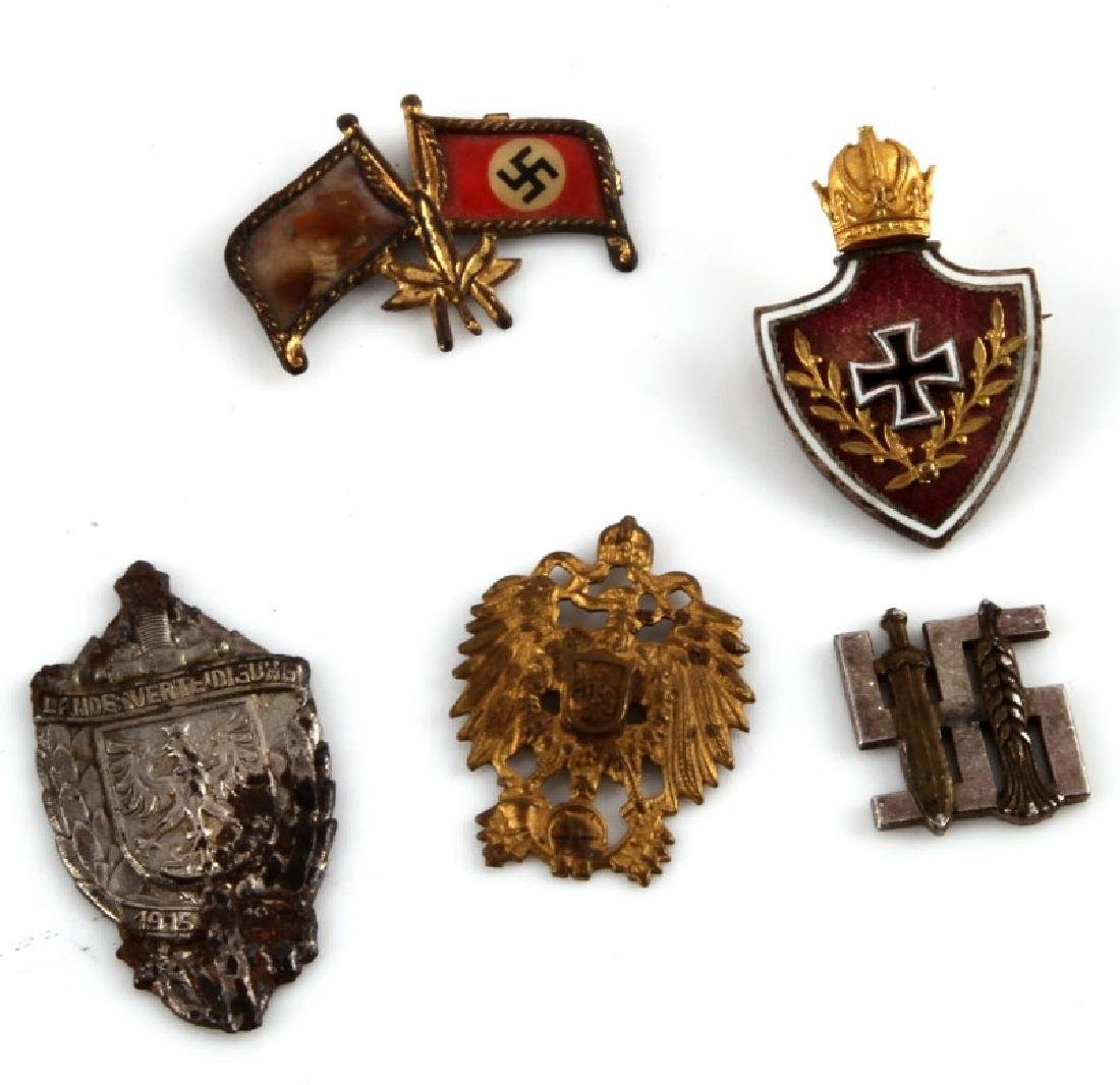 5 ASSORTED GERMAN WWII THIRD REICH PIN LOT