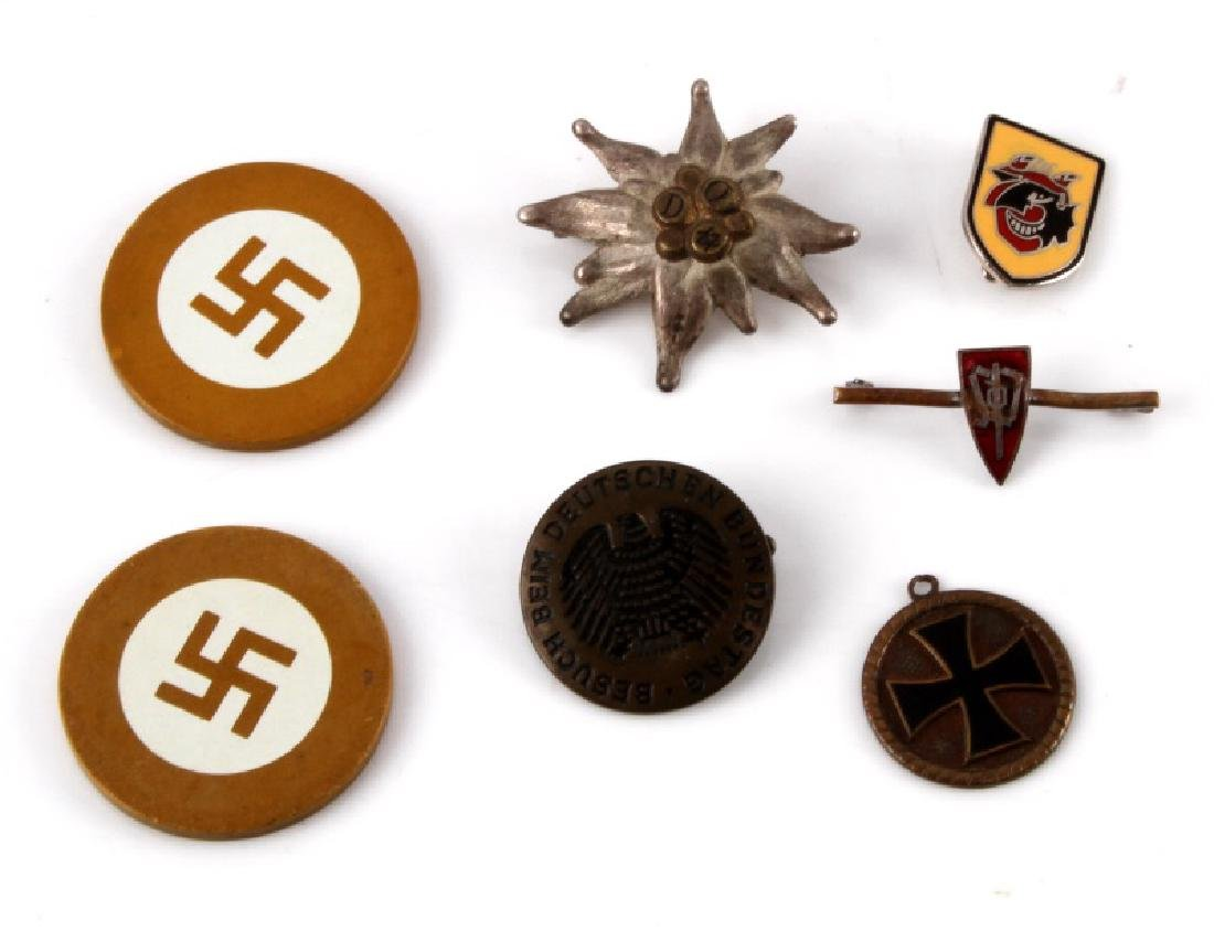7 GERMAN WWII ASSORTED PIN & POKER CHIP LOT