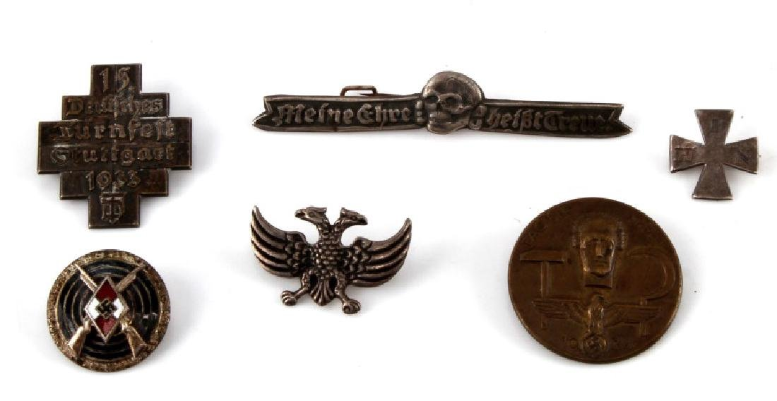 6 ASSORTED GERMAN WWII THIRD REICH BADGES LOT