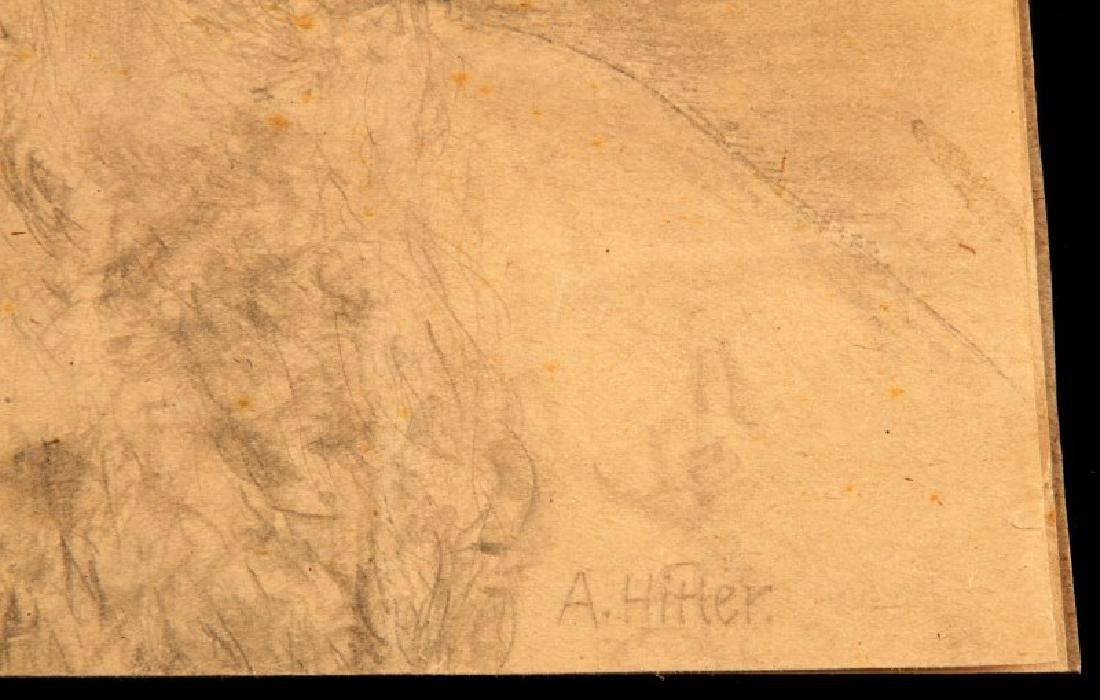 ADOLF HITLER SIGNED PENCIL SKETCH PORTRAIT W COA - 3