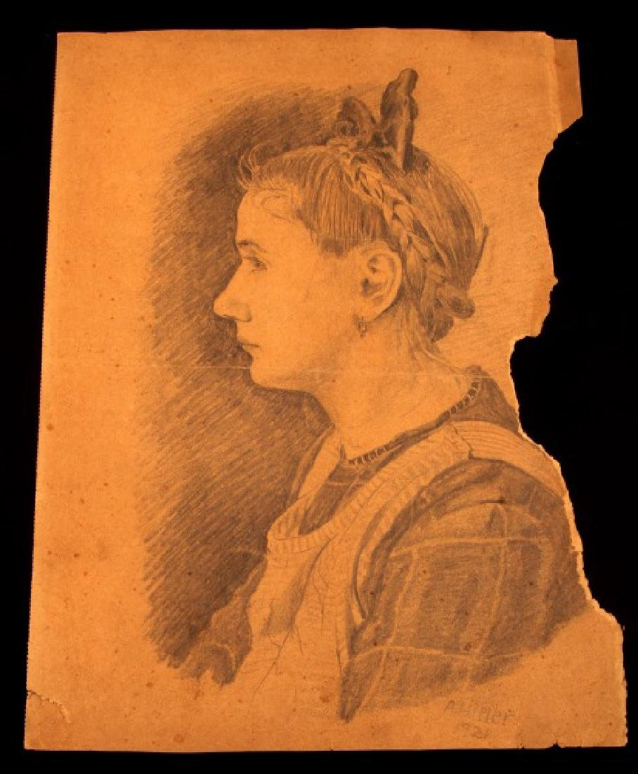 ADOLF HITLER SIGNED PROFILE PORTRAIT OF YOUNG GIRL