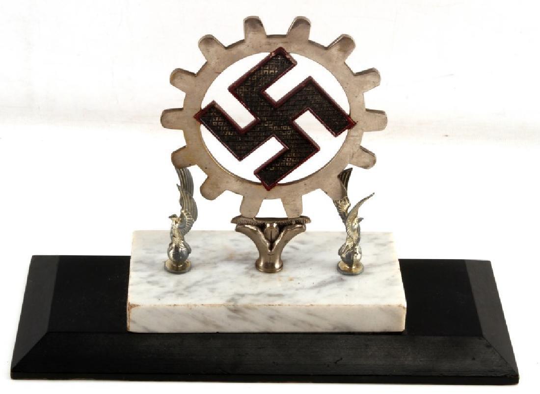 WWII GERMAN THIRD REICH COGGED SWASTIKA  DESK ITEM