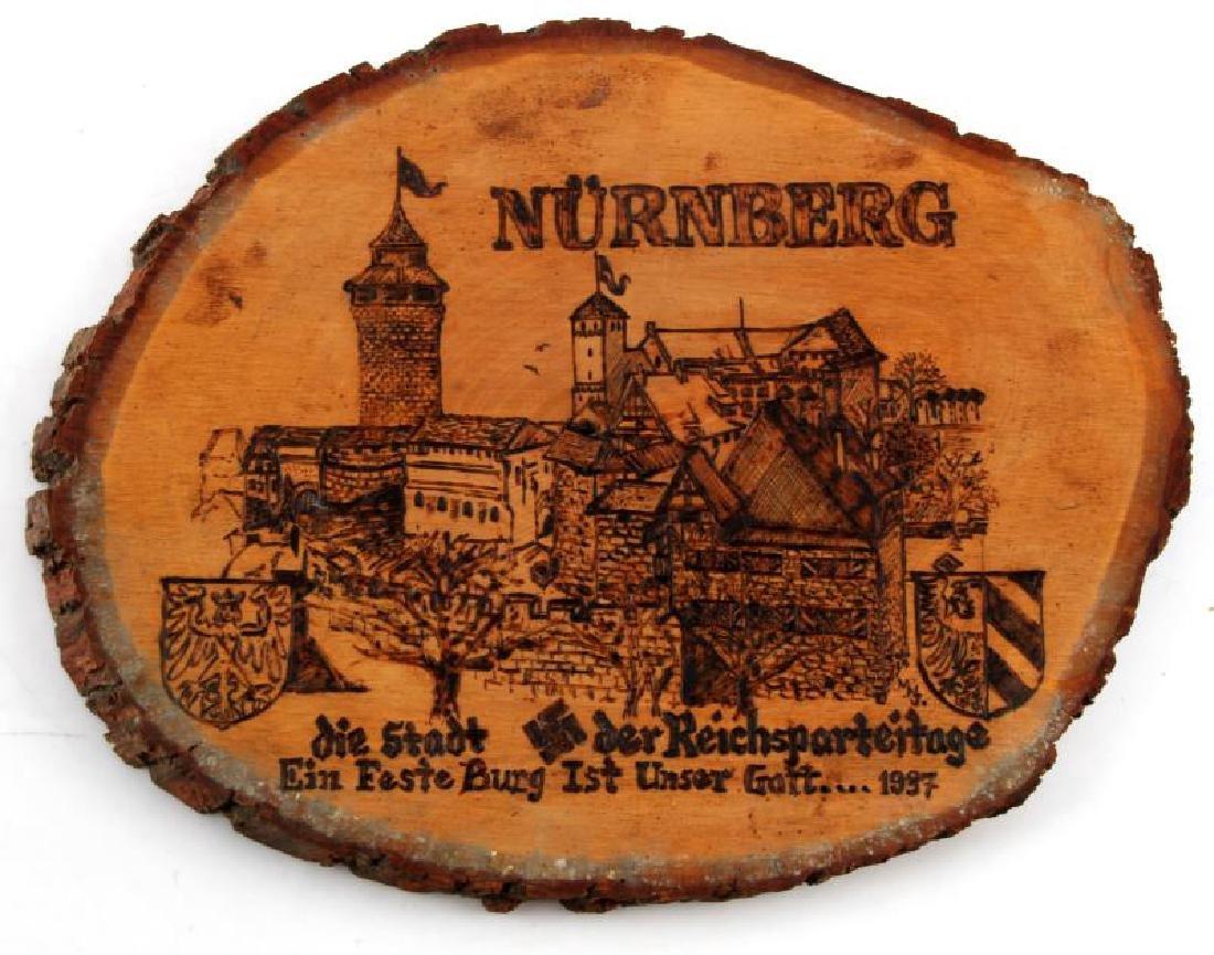 GERMAN THIRD REICH NURNBERG WOOD BURNT PLAQUE