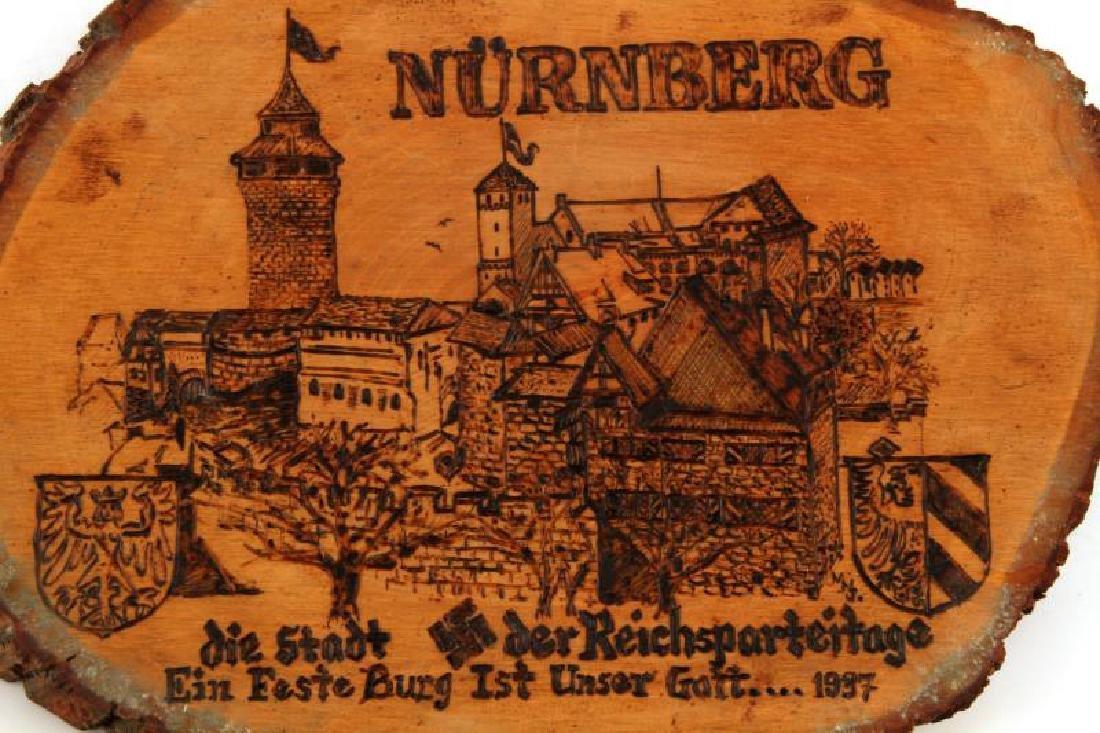 GERMAN THIRD REICH NURNBERG WOOD BURNT PLAQUE - 2