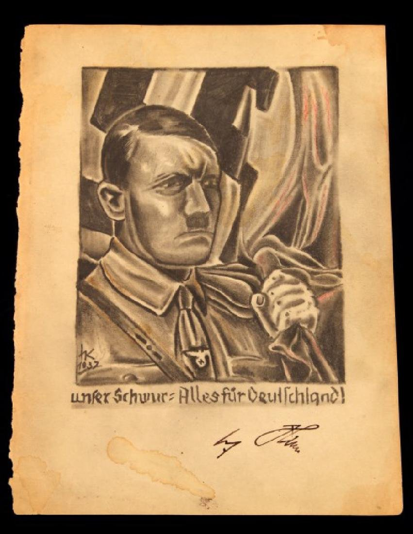 1937 ORIGINAL PENCIL ARTIST ADOLF HITLER SIGNED