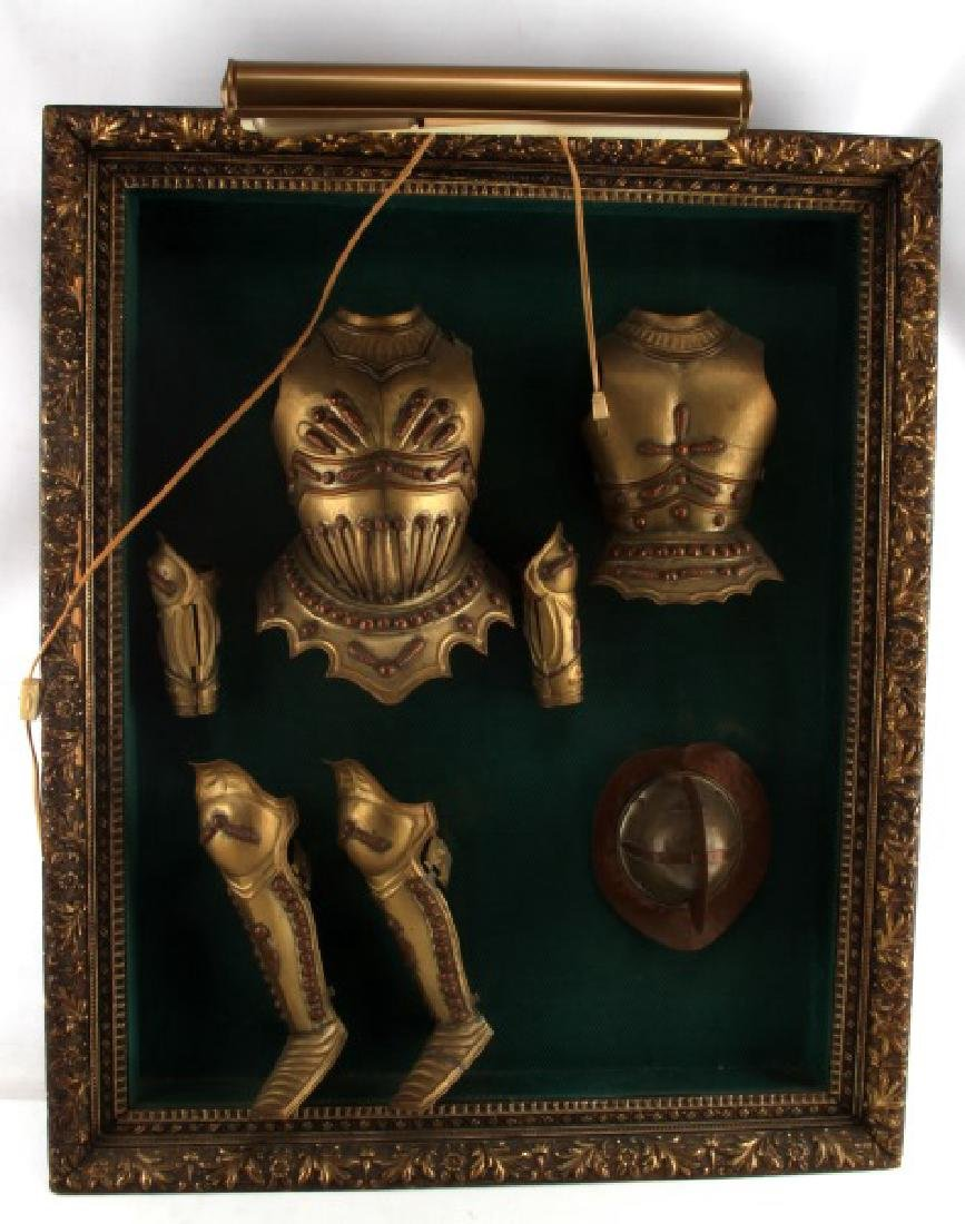 VINTAGE BRASS AND COPPER MINIATURE SUIT OF ARMOUR