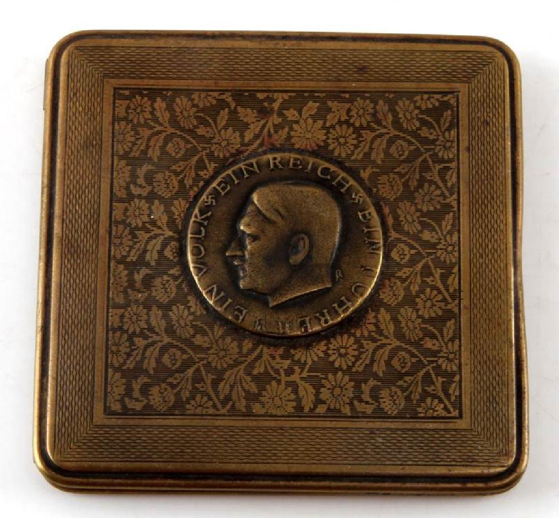 GERMAN WWII HITLER STYLE BRASS CIGARETTE CASE