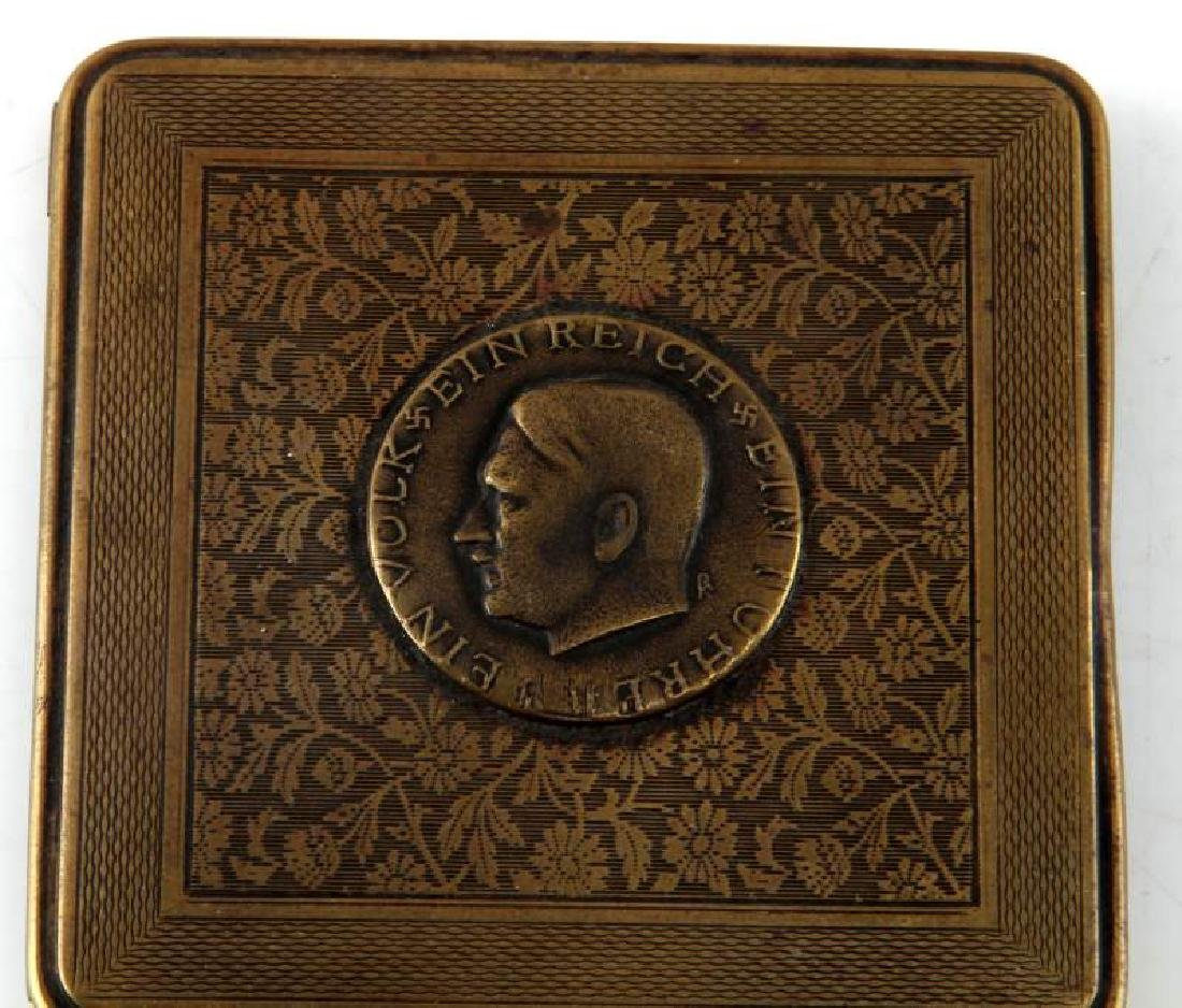 GERMAN WWII HITLER STYLE BRASS CIGARETTE CASE - 2