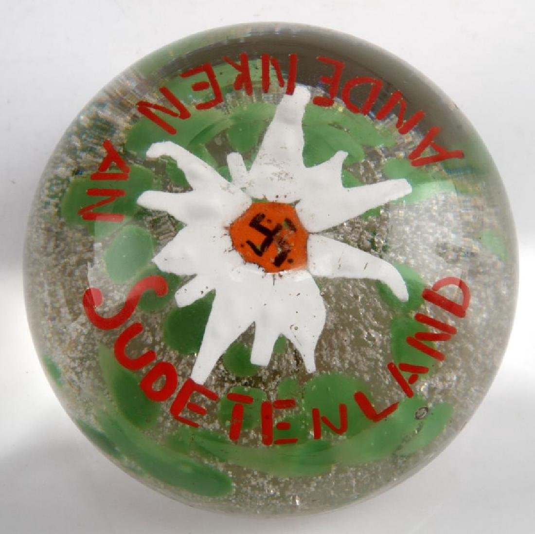 WWII GERMAN 3RD REICH EDELWEISS GLASS PAPERWEIGHT
