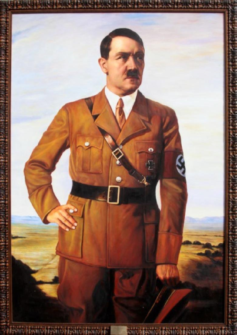 WWII NSDAP FRAMED FUHRER PORTRAIT OF ADOLF HITLER