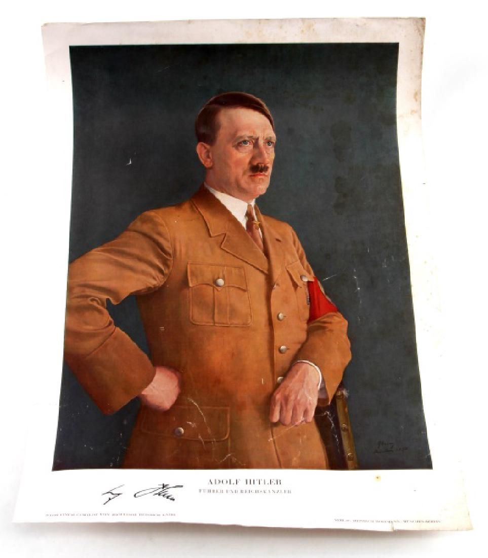 WWII GERMAN THIRD REICH HITLER SIGNED COLOR PRINT